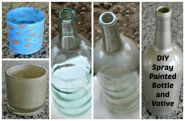 DIY Spray Painted Wine Bottle and Votive Candle Holder