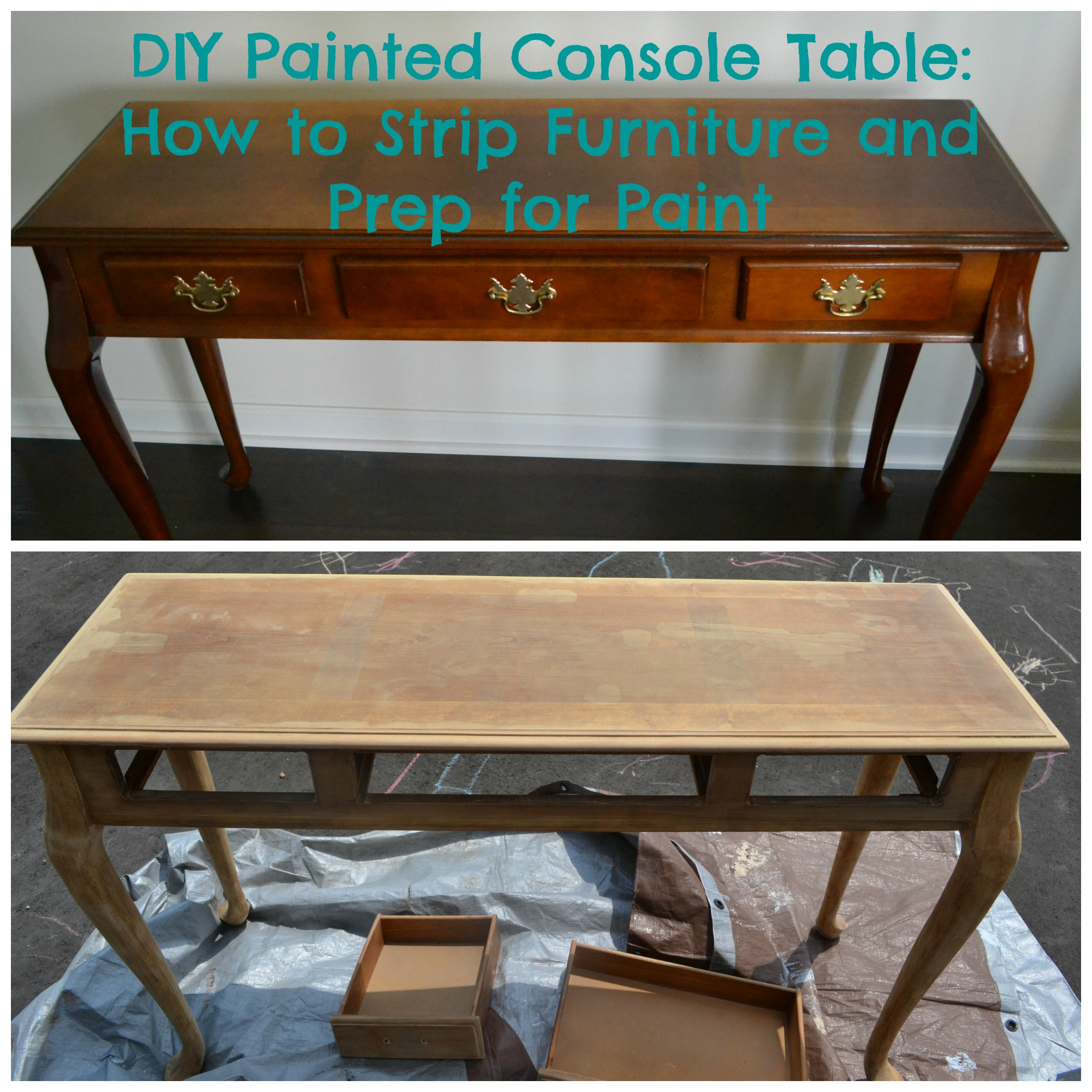 Diy painted console table how to strip furniture and prep for diy painted console table how to strip furniture and prep for paint geotapseo Images