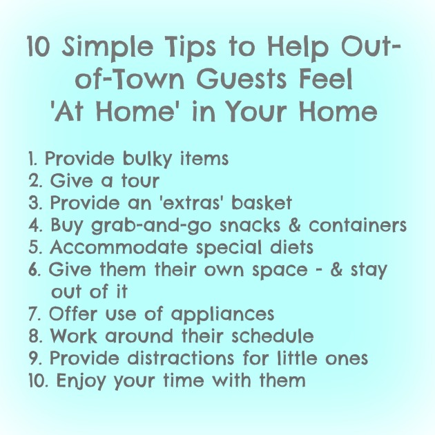 10 tips for making out of town guests feel at home in your home