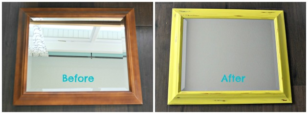 Chalk Painted Mirror Before and After