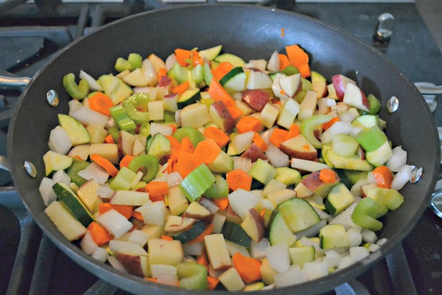 Saute vegetables until softened