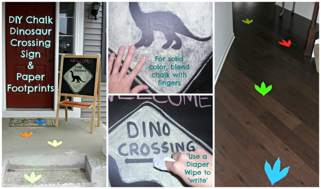 DIY Chalk Dinosaur Crossing Sign and Paper Footprints
