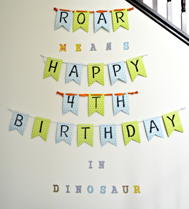 "Entryway ""Roar means Happy Birthday in Dinosaur"""