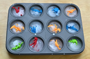 Make Dinosaur ice cubes in a muffin tin