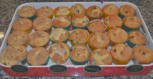 Cinnamon streusel, Lemon Poppyseed, Blueberry and Chocolate Chip Muffins