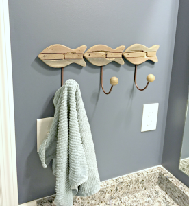 A Kid And Guest Friendly Nautical Themed Bathroom | thisgratefulmama.com