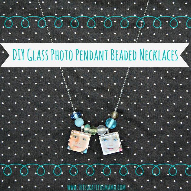 DIY Glass Photo Pendant Beaded Necklaces | www.thisgratefulmama.com