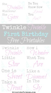 Twinkle Twinkle Little Star First Birthday Free Printables | thisgratefulmama.com